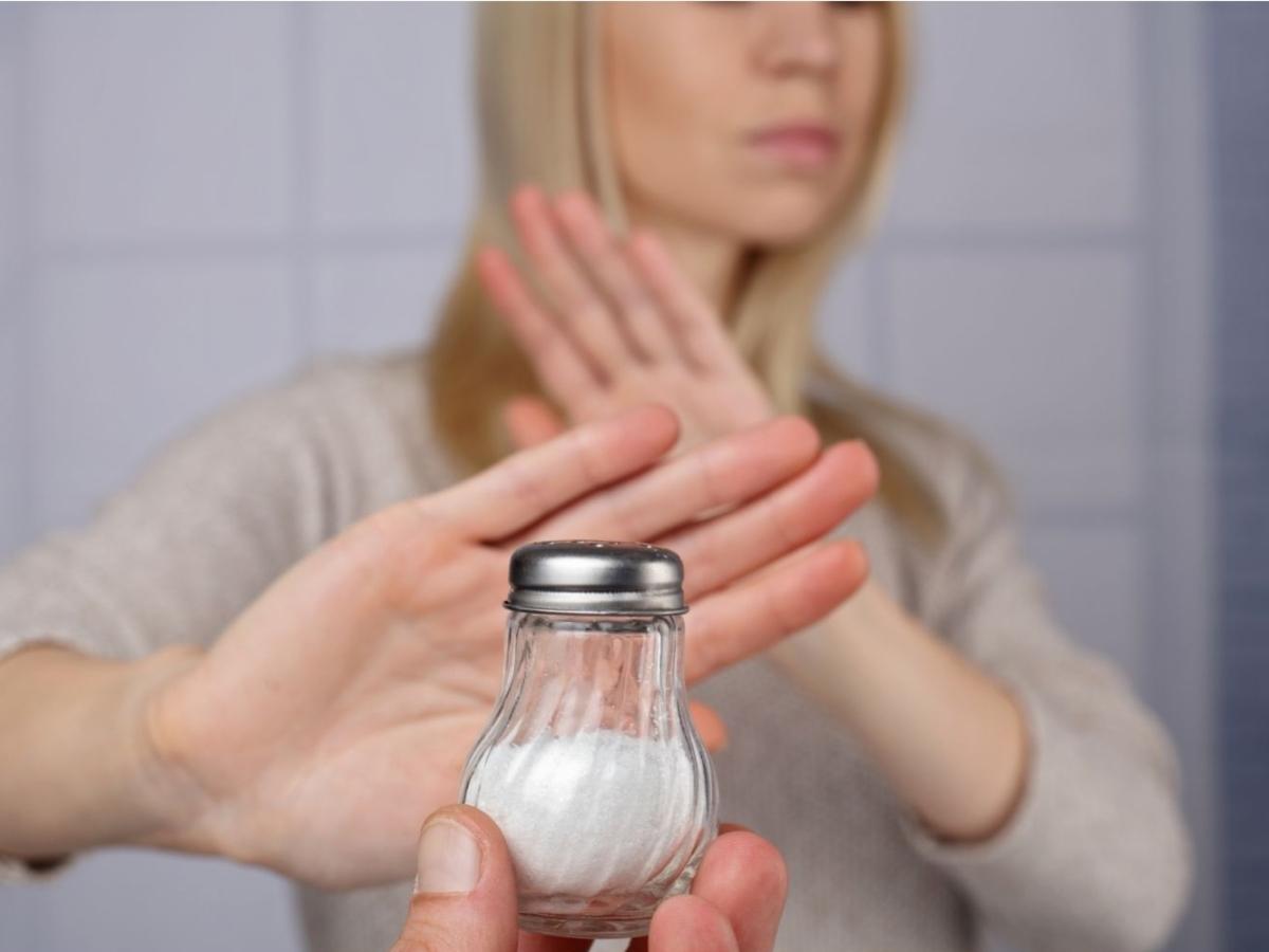 A person refusing salt. Health care concept, hypertension prevention